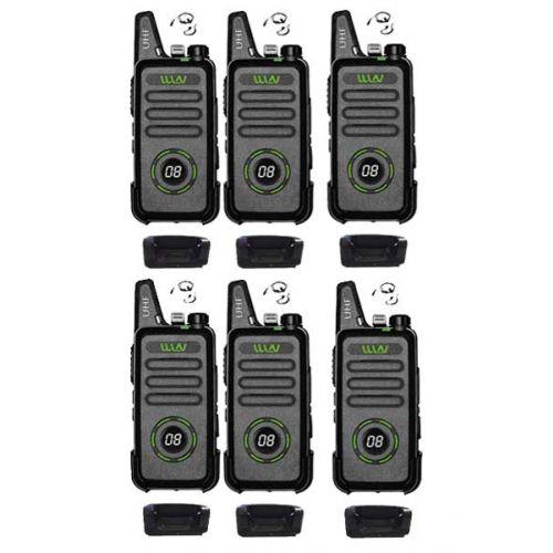 Set van 6 WLN KD-C1 Plus Zwarte mini Portofoon met g-shape headset