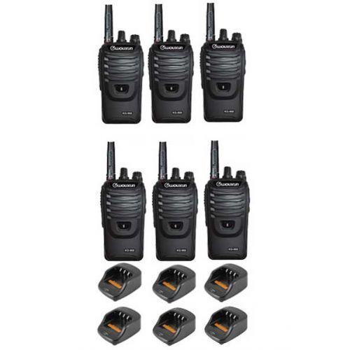 Set van 6 Wouxun KG-968 UHF portofoons IP66 10Watt met Bluetooth