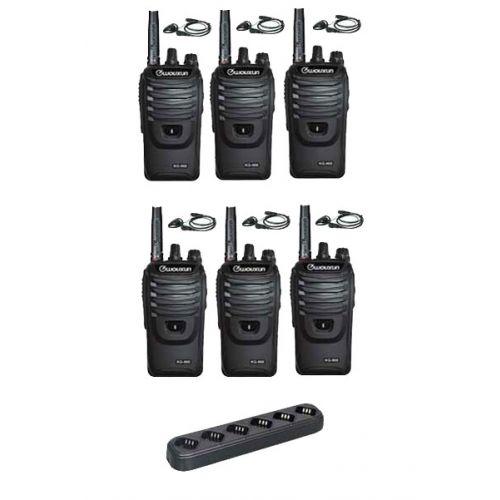 Set van 6 Wouxun KG-968 UHF portofoons met D-shape oortje en multilader