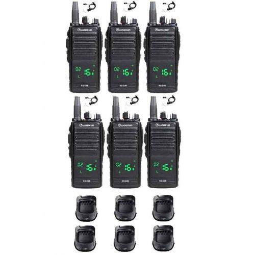 Set van 6 Wouxun KG-D26 IP67 Portofoons met tafelladers en beveiliging oortjes