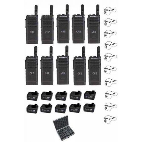 Set van 10 Motorola SL1600 DMR UHF met tafellader en C-ring oortje en koffer